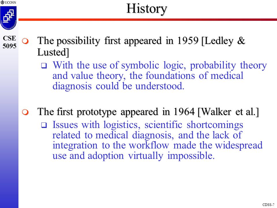 History The possibility first appeared in 1959 [Ledley & Lusted]